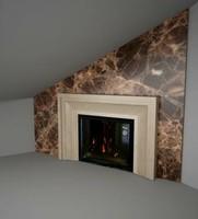 Камин из мрамора Лотос Беж с экраном из мрамор Эмперадор Дарк